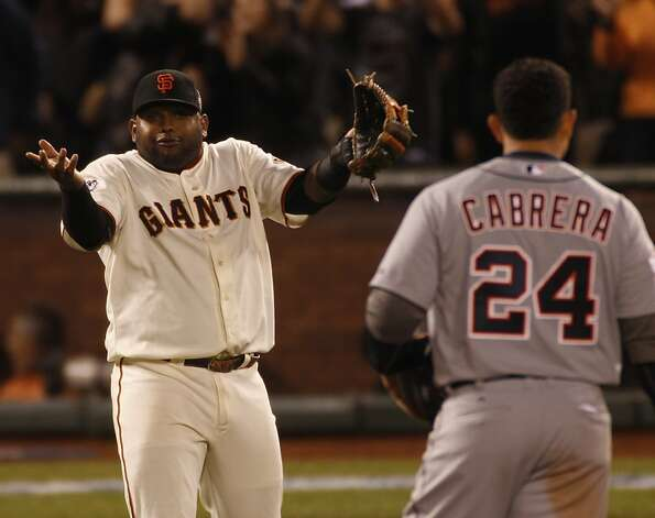 Giants' 3rd baseman Pablo Sandoval gestures to Tigers' third baseman Miguel Cabrera during the pitching change in the 6th inning during the World Series game 1 at AT&T Park in San Francisco, Calif., on Wednesday, Oct. 24, 2012. Photo: Carlos Avila Gonzalez, The Chronicle
