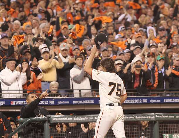 Giants' pitcher Barry Zito leaves the game in the 6th inning during game 1 of the World Series at AT&T Park on Wednesday, Oct. 24, 2012 in San Francisco, Calif. Photo: Lance Iversen, The Chronicle