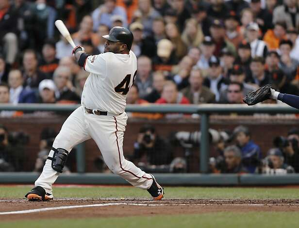 Giants' 3rd baseman Pablo Sandoval hits a homerun in the 1st inning of game 1 of the NLCS at AT&T Park on Sunday, Oct. 14, 2012 in San Francisco, Calif. Photo: Michael Macor, The Chronicle