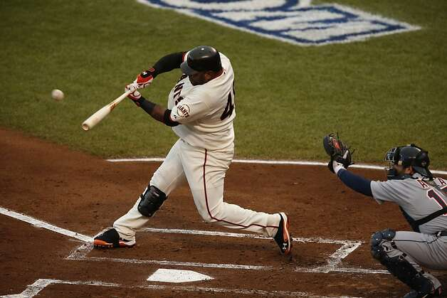 The Giants' Pablo Sandoval hits a first inning home run during Game 1 of the World Series at AT&T Park on Wednesday, Oct. 24, 2012 in San Francisco, Calif. Photo: Beck Diefenbach, Special To The Chronicle