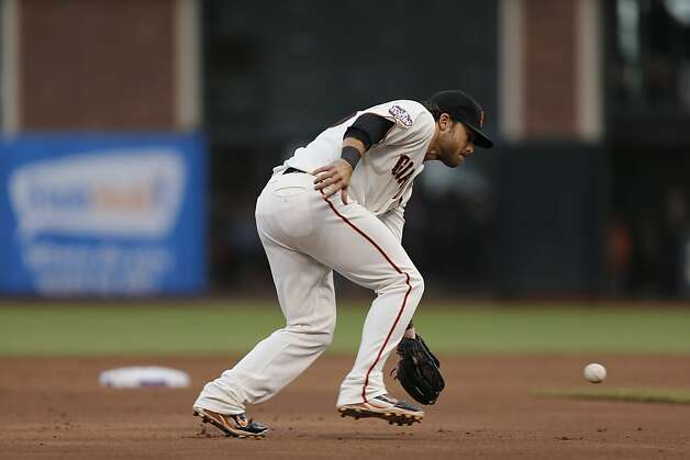 Giants' shortstop Brandon Crawford makes the play on Tigers' out fielder Avisail Garcia grounder in the 2nd inning during game 1 of the World Series at AT&T Park on Wednesday, Oct. 24, 2012 in San Francisco, Calif. Photo: Michael Macor, The Chronicle