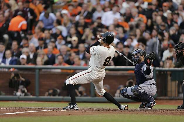 The Giants' Hunter Pence is brushed back during the second inning of Game 1 of the World Series at AT&T Park on Wednesday, Oct. 24, 2012 in San Francisco, Calif. Photo: Michael Macor, The Chronicle