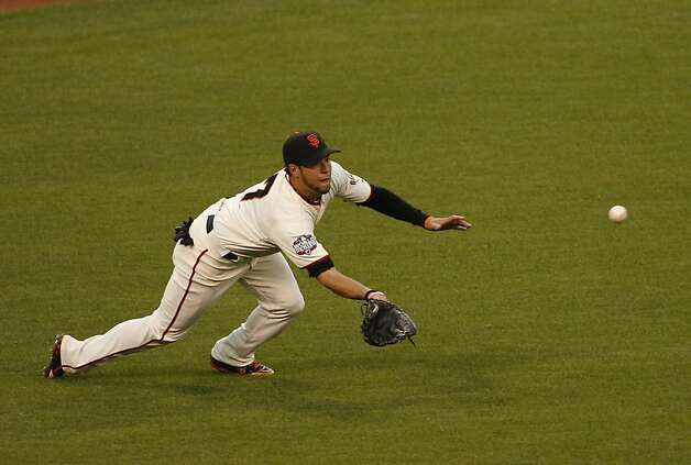 Giants' left fielder Gregor Blanco makes the play on a Tigers' third baseman Miguel Cabrera line drive in the 3rd inning during game 1 of the World Series at AT&T Park on Wednesday, Oct. 24, 2012 in San Francisco, Calif. Photo: Beck Diefenbach, Special To The Chronicle