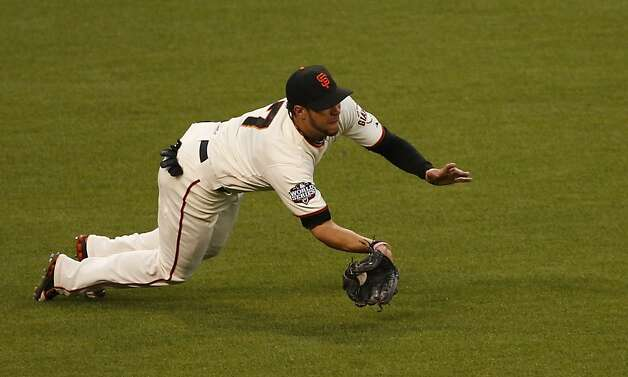 Giants' left fielder Gregor Blanco makes the play on a Miguel Cabrera line drive in the third inning during Game 1 of the World Series at AT&T Park on Wednesday, Oct. 24, 2012 in San Francisco, Calif. Photo: Beck Diefenbach, Special To The Chronicle