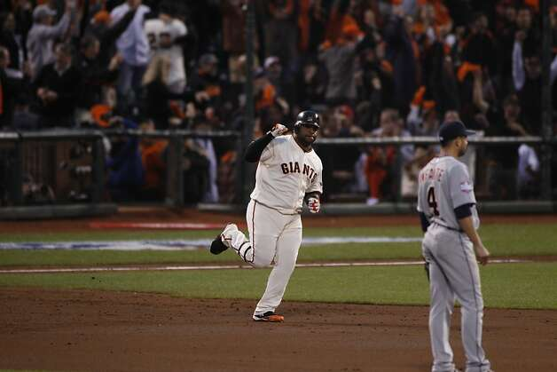 Giants' 3rd baseman Pablo Sandoval rounds the bases after hitting a 2-run homer in the 3rd inning during the World Series game 1 at AT&T Park in San Francisco, Calif., on Wednesday, Oct. 24, 2012. Photo: Carlos Avila Gonzalez, The Chronicle