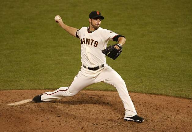 San Francisco Giants pitcher George Kontos delivers a pitch during the ninth inning of game one of the World Series on Wednesday, October 24, 2012 in San Francisco, Calif. Photo: Beck Diefenbach, Special To The Chronicle