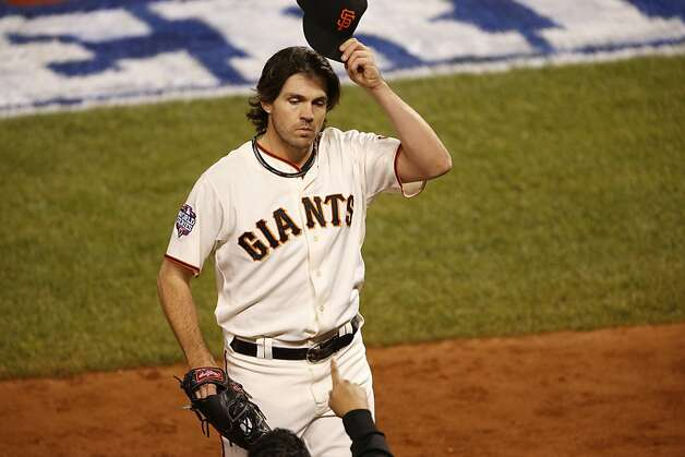 Giants' pitcher Barry Zito tips his hat on his way to the dugout in the 6th inning during game 1 of the World Series at AT&T Park on Wednesday, Oct. 24, 2012 in San Francisco, Calif. Photo: Beck Diefenbach, Special To The Chronicle