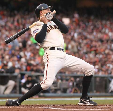 Giants' right fielder Hunter Pence is brushed back in the 3rd inning during game 1 of the World Series at AT&T Park on Wednesday, Oct. 24, 2012 in San Francisco, Calif. Photo: Lance Iversen, The Chronicle