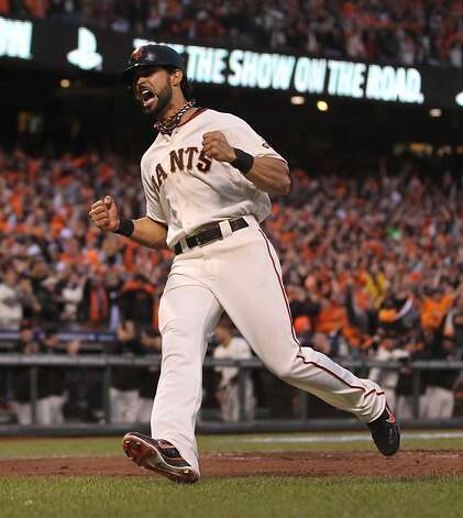 Giants' center fielder Angel Pagan scores in the 3rd inning during game 1 of the World Series at AT&T Park on Wednesday, Oct. 24, 2012 in San Francisco, Calif. Photo: Lance Iversen, The Chronicle