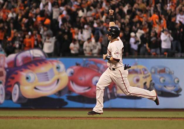 Giants' center fielder Angel Pagan celebrates on his way home in the 3rd inning during game 1 of the World Series at AT&T Park on Wednesday, Oct. 24, 2012 in San Francisco, Calif. Photo: Lance Iversen, The Chronicle
