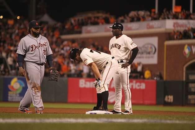 Giants' pitcher Barry Zito takes a breather at 1st base after hitting an RBI single in the 4th inning during game 1 of the World Series at AT&T Park on Wednesday, Oct. 24, 2012 in San Francisco, Calif. Photo: Lance Iversen, The Chronicle