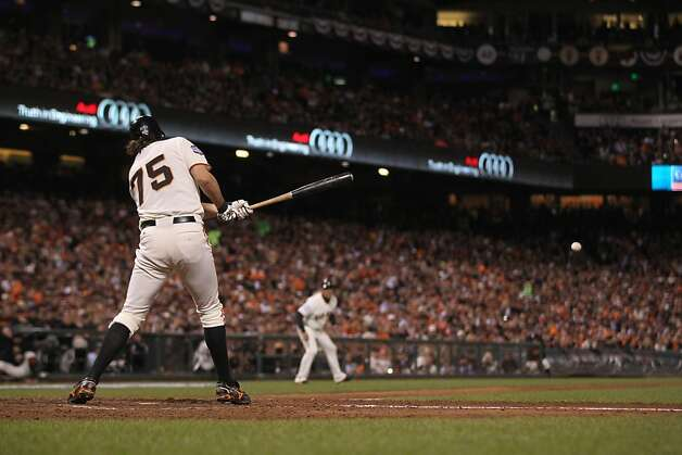 Giants' pitcher Barry Zito hit an RBI single in the 4th inning during game 1 of the World Series at AT&T Park on Wednesday, Oct. 24, 2012 in San Francisco, Calif. Photo: Lance Iversen, The Chronicle