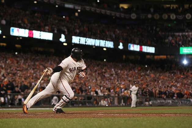 Giants' 3rd baseman Pablo Sandoval singles in the 7th inning during game 1 of the World Series at AT&T Park on Wednesday, Oct. 24, 2012 in San Francisco, Calif. Photo: Lance Iversen, The Chronicle