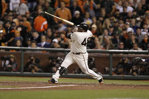 Giants' 3rd baseman Pablo Sandoval loses his grip on the bat in the 5th inning during game 1 of the World Series at AT&T Park on Wednesday, Oct. 24, 2012 in San Francisco, Calif. Photo: Michael Macor, The Chronicle