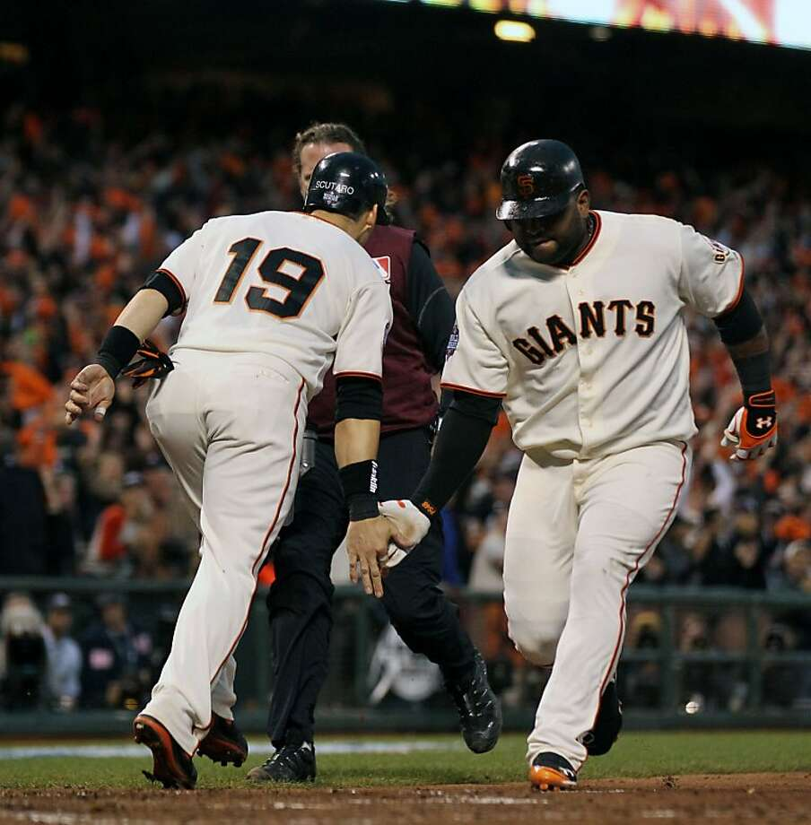 San Francisco Giants Marco Scutaro celebrates Pablo Sandoval third inning two run home run against the Detroit Tigers in game one of the World Series Wednesday, October 24, 2012 in San Francisco, California. Giants won 8-3 Photo: Lance Iversen, The Chronicle