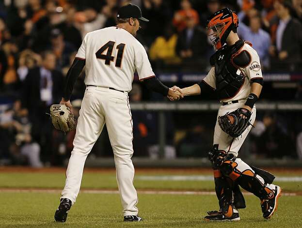 Giants' closer Jeremy Affelt and catcher Buster Posey celebrate the win, as the San Francisco Giants the Detroit Tigers 8-3 to take  game one of the World Series, on Wednesday Oct. 24, 2012 at AT&T Park, in  San Francisco, Calif. Photo: Michael Macor, The Chronicle
