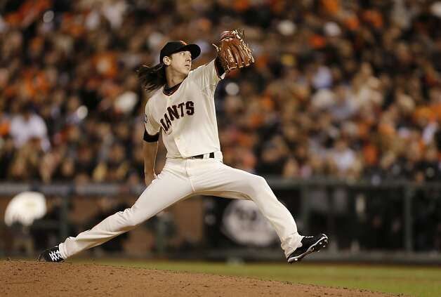 Giants' pitcher TIm Lincecum throws in the sixth inning, as the San Francisco Giants went on to beat the Detroit Tigers 8-3 to take game one of the World Series, on Wednesday Oct. 24, 2012 at AT&T Park, in  San Francisco, Calif. Photo: Michael Macor, The Chronicle