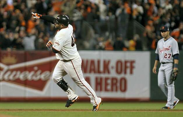 San Francisco Giants Pablo Sandoval runs the bases after hitting a two run homer against Detroit Tigers starting pitcher Justin Verlander #35 in the 3rd inning  of the World Series Wednesday, October 24, 2012 in San Francisco, California. Giants won 8-3 Photo: Lance Iversen, The Chronicle