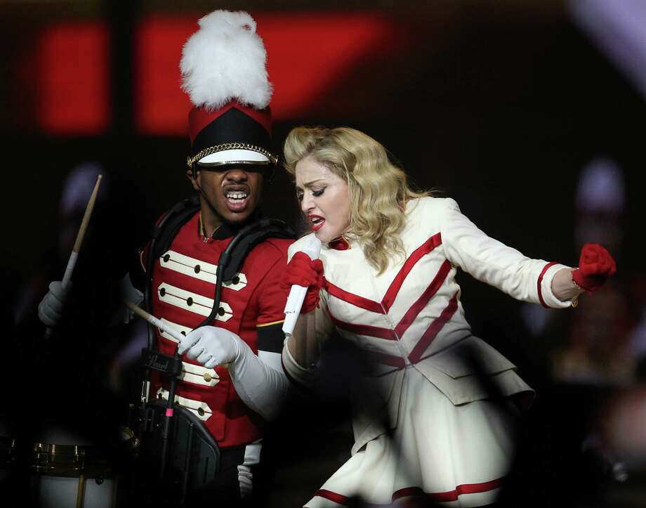 Madonna performs the first of two sold-out nights at Toyota Center, Wednesday, Oct. 24, 2012, in Houston. Read the review in 29-95.com.  Photo: Karen Warren, Houston Chronicle / Houston Chronicle