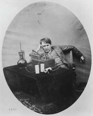 This 1888 photo provided by the Museum of Innovation and Science in Schenectady, N.Y., shows Thomas Edison listening to a wax cylinder phonograph. Researchers have digitized what experts say is the oldest recording of a playable American voice and history's first-ever recorded musical performance, along with the first recorded blooper. Recorded on a sheet of tinfoil on a phonograph invented by Thomas Edison, the recording was made in St. Louis in 1878. It contains a short coronet solo of an unidentified song, followed by the voices of a man reciting popular nursery rhymes. (AP Photo/Mike Groll) Photo: Uncredited