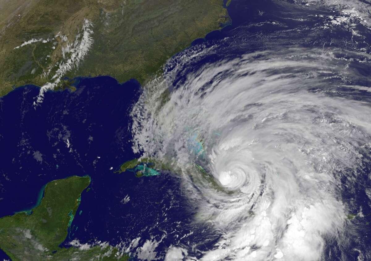 This Thursday NOAA GOES satellite image shows Hurricane Sandy. Hurricane Sandy plowed across Cuba early Thursday as a