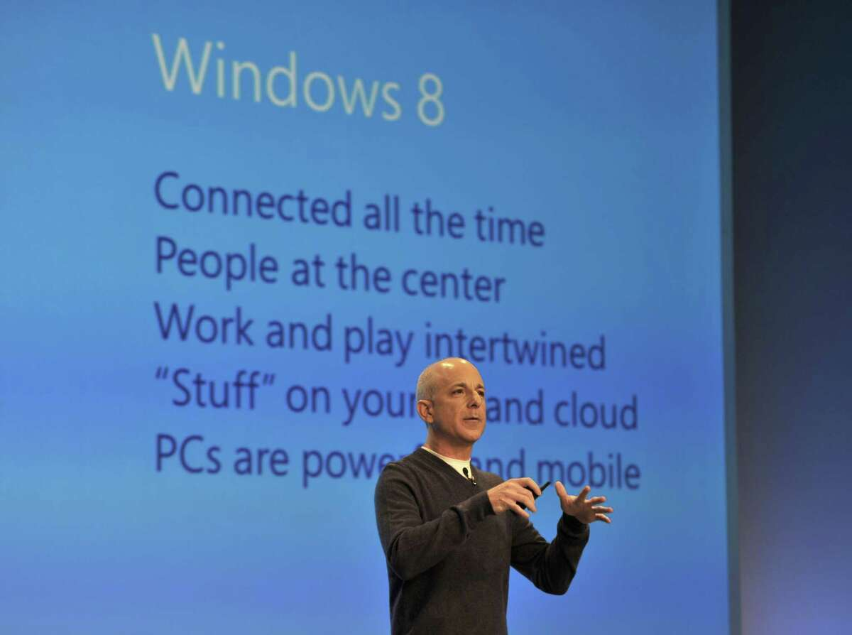 Steven Sinofsky, president of the Windows and Windows Live Division at Microsoft, speaks during a press conference to officially launch Windows 8 on October 25, 2012 at Pier 57 in New York.