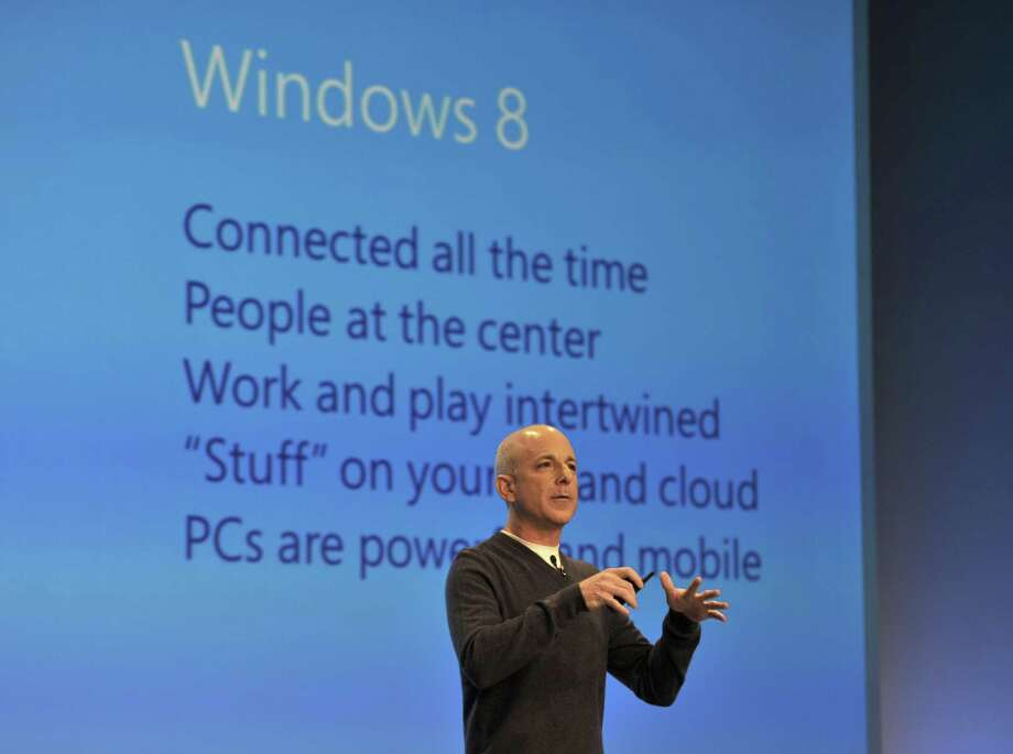 Steven Sinofsky, president of the Windows and Windows Live Division at Microsoft, speaks during a press conference to officially launch Windows 8 on  October 25, 2012 at Pier 57 in New York. Photo: TIMOTHY A. CLARY, AFP/Getty Images / 2012 AFP
