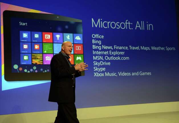 Microsoft CEO Steve Ballmer speaks during a press conference to  officially launch Windows 8 at Pier 57 in New York October 25, 2012. Photo: TIMOTHY A. CLARY, AFP/Getty Images / 2012 AFP