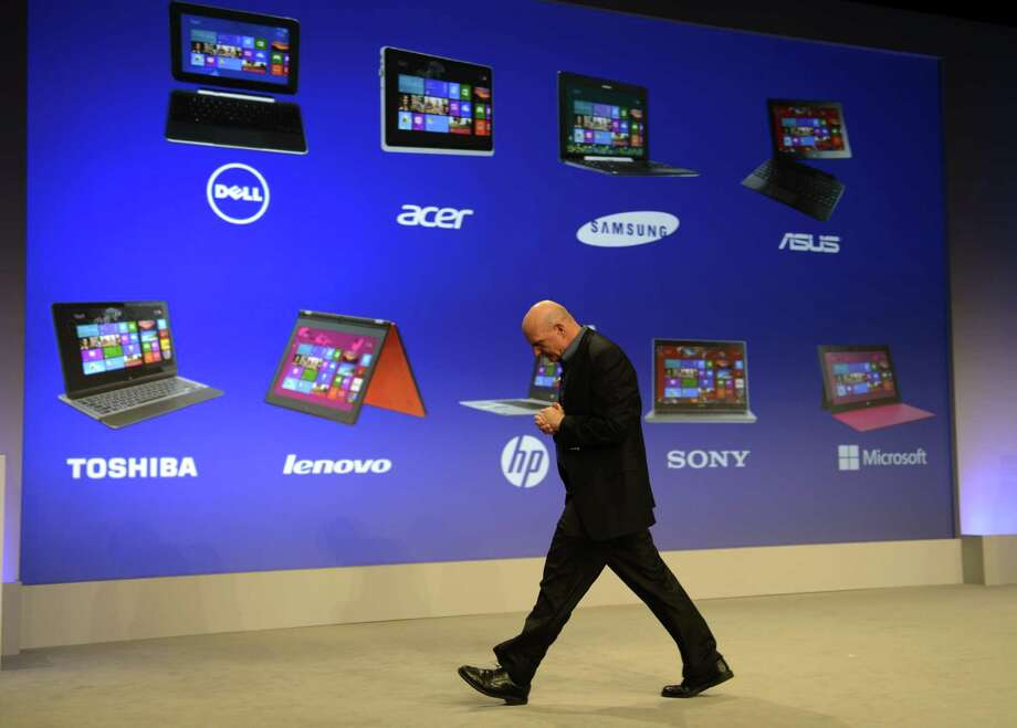 Microsoft CEO Steve Ballmer during a press conference to  officially launch Windows 8 at Pier 57 in New York October 25, 2012. Photo: TIMOTHY A. CLARY, AFP/Getty Images / 2012 AFP