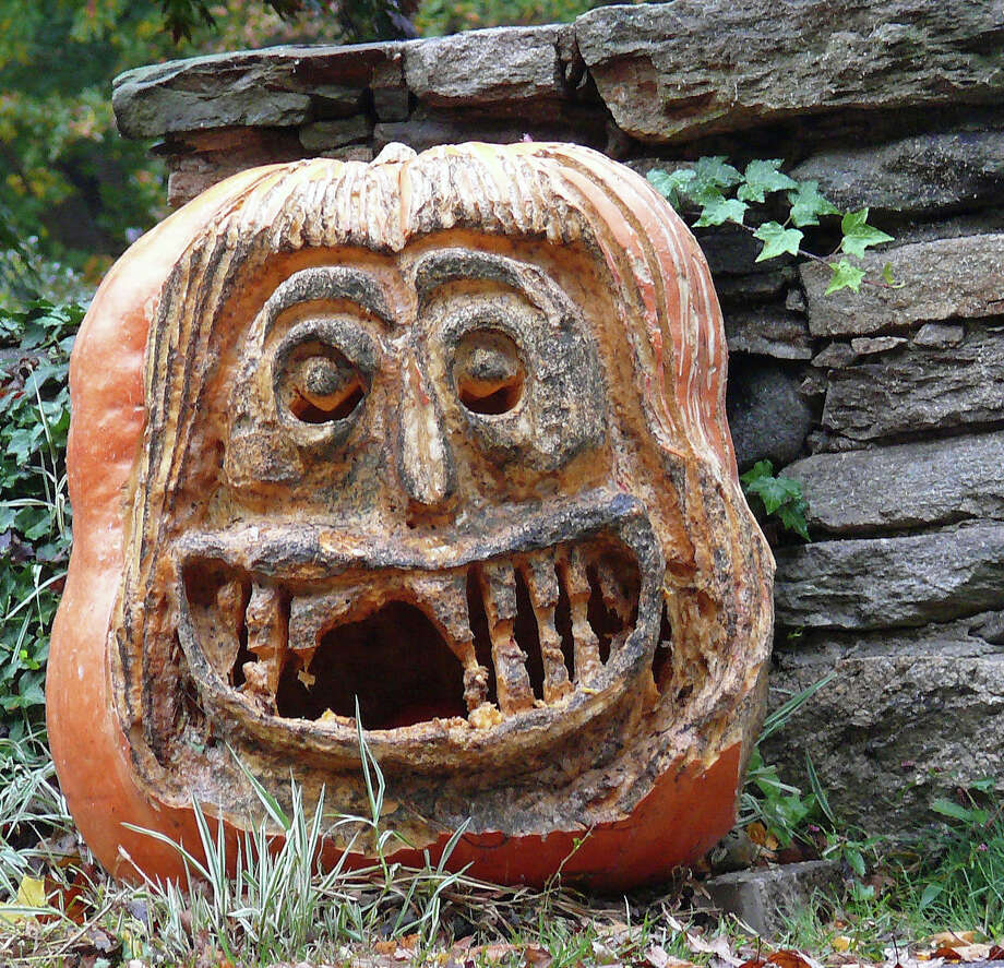 An intricately carved pumpkin at a North Benson Road home. Photo: Genevieve Reilly