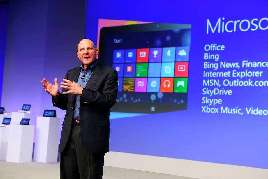 Steve Ballmer, chief executive of Microsoft, on the stage during the company's Windows 8 and Surface event in New York, Oct. 25, 2012. Microsoft threw a coming-out party on Thursday for their new operating system and tablet, its most significant new products in years. (Chang W. Lee/The New York Times) Photo: CHANG W. LEE, New York Times / NYTNS