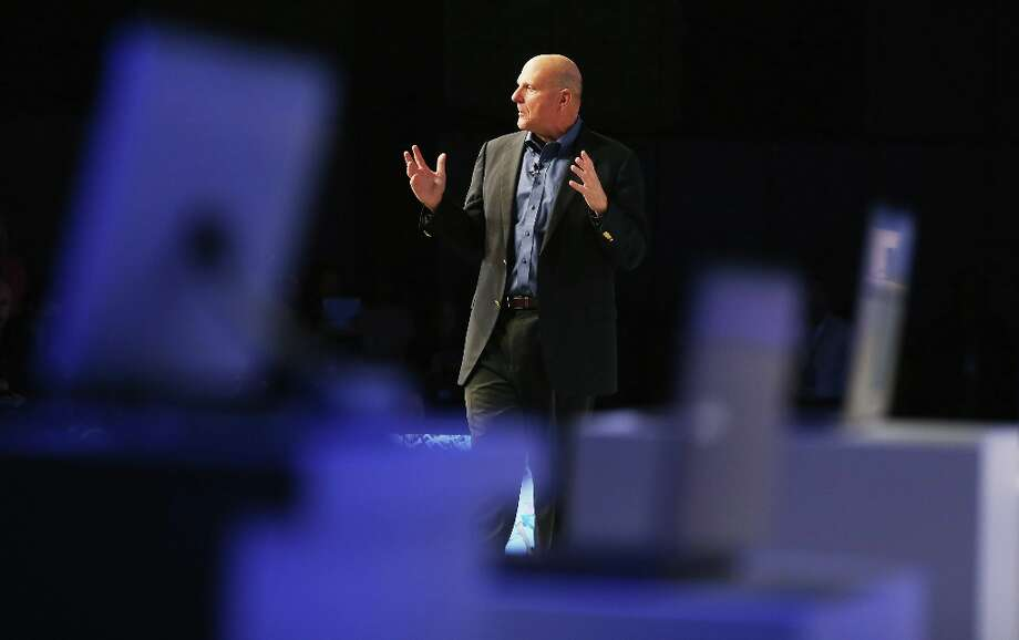 NEW YORK, NY - OCTOBER 25:  Microsoft CEO Steve Ballmer speaks at a press conference unveiling the Windows 8 operating system on October 25, 2012 in New York City.  Windows 8 will offer a touch interface in an effort to bridge the gap between tablets, smartphones and personal computers. Microsoft will also be selling a tablet called Surface to compete in the competitive tablet market.  (Photo by Mario Tama/Getty Images) Photo: Mario Tama, Getty Images / 2012 Getty Images