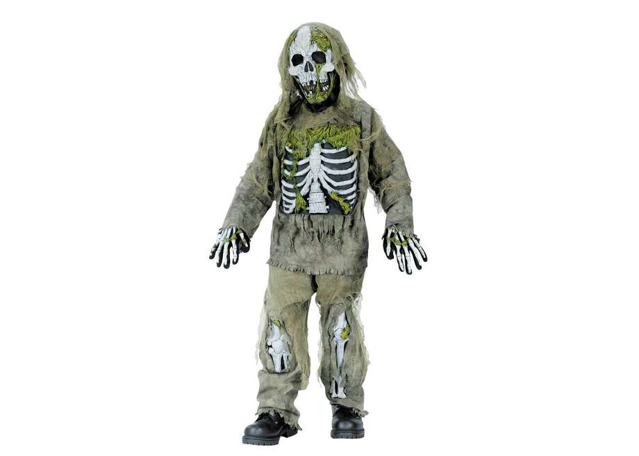 "This undated product image released by Part City shows a boys skeleton zombie costume. Catering to the popular zombie craze, Halloween costumes for young children are getting more grisly. Even costumes that were once benign now have violent twists: The sweet, simple ""sock monkey"" is now a bloody zombie sock monkey with razor-sharp teeth, sold in sizes small enough for kindergarteners. (AP Photo/Party City)"