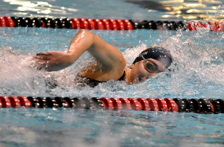 Weston's Shelby Fortin competes in the 200 yard freestyle event during the CIAC Class S Girls Swimming Championship at Wesleyan University pool in Middletown on Tuesday, Nov. 17, 2009. Photo: Amy Mortensen / Connecticut Post