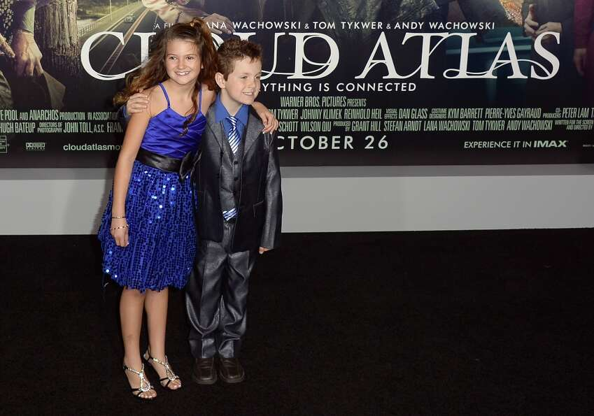 Actors Raevan Lee Hanan and Korbyn Hawk Hanan  arrive for the the premiere of 'Cloud Atlas'  at Grau