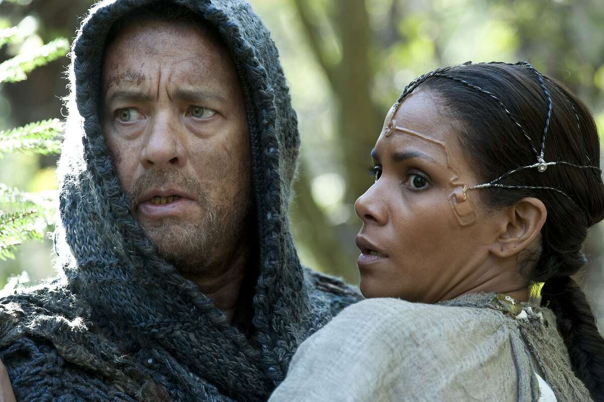 This film image released by Warner Bros. Pictures shows Tom Hanks as Zachry and Halle Berry as Meronym in a scene from