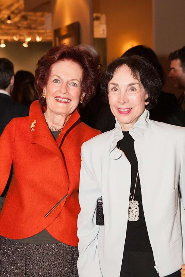 The Fall Antiques Show showcases the best of antiques from furniture to china and silverware to jewelry from vendors around the globe. Helen Raiser (left) and Merla Zellerbach (right) found a bow-shaped pin by Tiffany selling for $30,000, and joked that they'd make it affordable by splitting the cost and each wearing it for six months of the year. Photo: Drew Altizer Photography