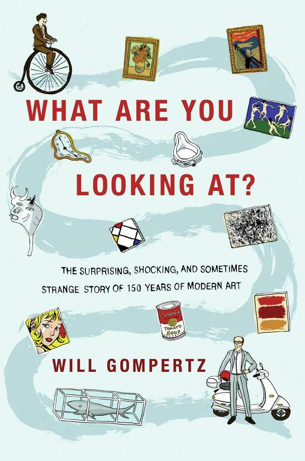 """This book cover image released by Dutton shows, """"What Are You Looking At? The Surprising, Shocking, and Sometimes Strange Story of 150 Years of Modern Art,"""" by Will Gompertz. (AP Photo/Dutton)"""