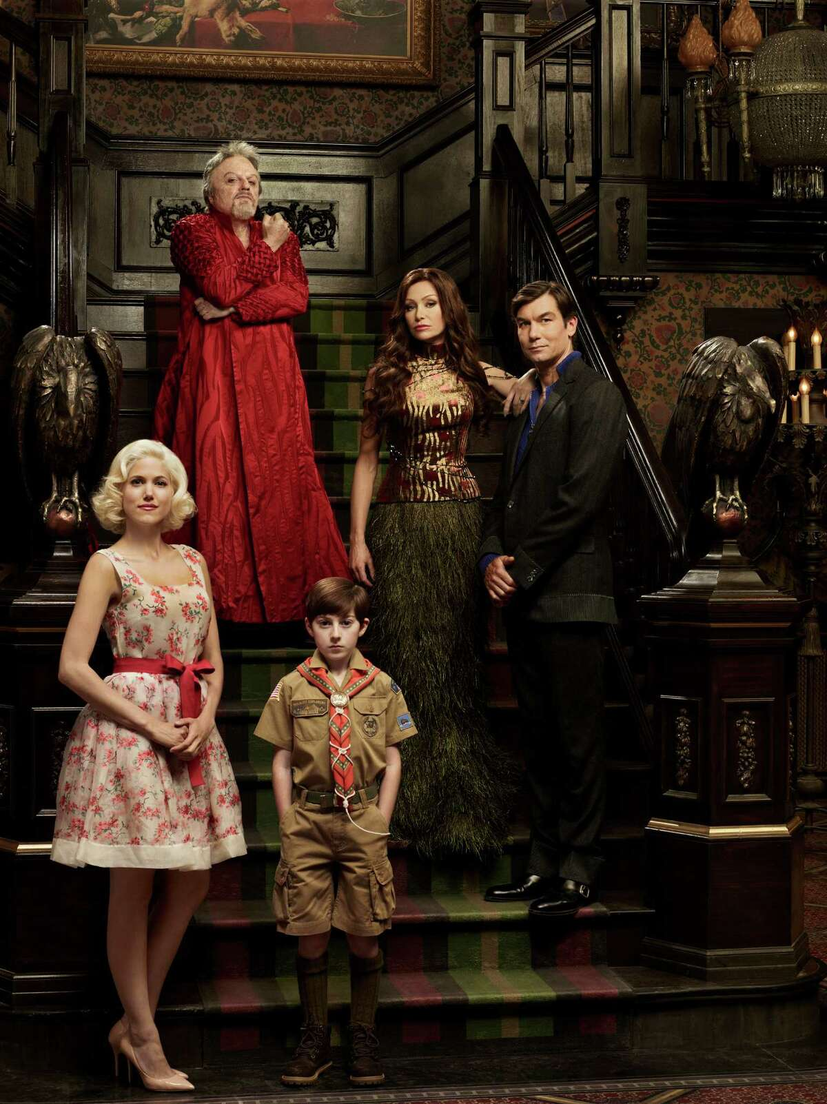 MOCKINGBIRD LANE -- Pilot -- Pictured: (l-r) Charity Wakefield as Marilyn, Eddie Izzard as Grandpa, Mason Cook as Eddie Munster, Portia De Rossi as Lily Munster, Jerry O'Connell as Herman Munster -- (Photo by: Gavin Bond/NBC)
