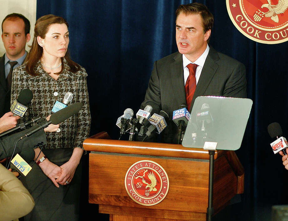 "FILE - In this 2009 publicity photo released by CBS, Julianna Margulies, left, and Chris Noth are shown in a scene from the CBS series, ""The Good Wife.""   The high drama of this political season has been echoed by episodic TV like CBS' ""The Good Wife,"" and Showtime's ""Homeland"" where character Nicholas Brody returns home after eight years of imprisonment in Afghanistan to become a U.S. Congressman. (AP Photo/CBS, Eike Schroter, file) Photo: EIKE SCHROTER"