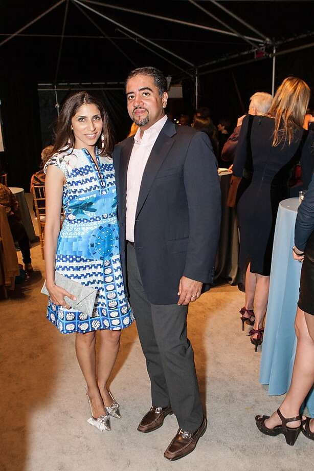 The Fall Antiques Show, a benefit for Enterprise for High School students, is considered one of the top events of the social season in San Francisco, and draws many old-guard gala-goers, but this year saw a rise in younger attendees, among them Sobia Shaikh (left), a handbag designer, and her husband, Nadir Shaikh, an executive at Qatalyst. Photo: Drew Altizer Photography, Heather Wiley For Drew Altizer P