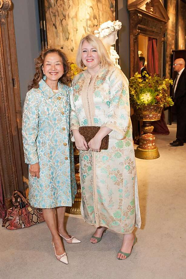 Real estate agent Olivia Hsu Decker, (left) knows a thing or two about fine furnishings, specializing in homes wth double-digit price tags in the Bay Area. She attended the opening night of the Fall Antiques Show on Oct. 24 with Emily Eerdmans (right.) Photo: Drew Altizer Photography