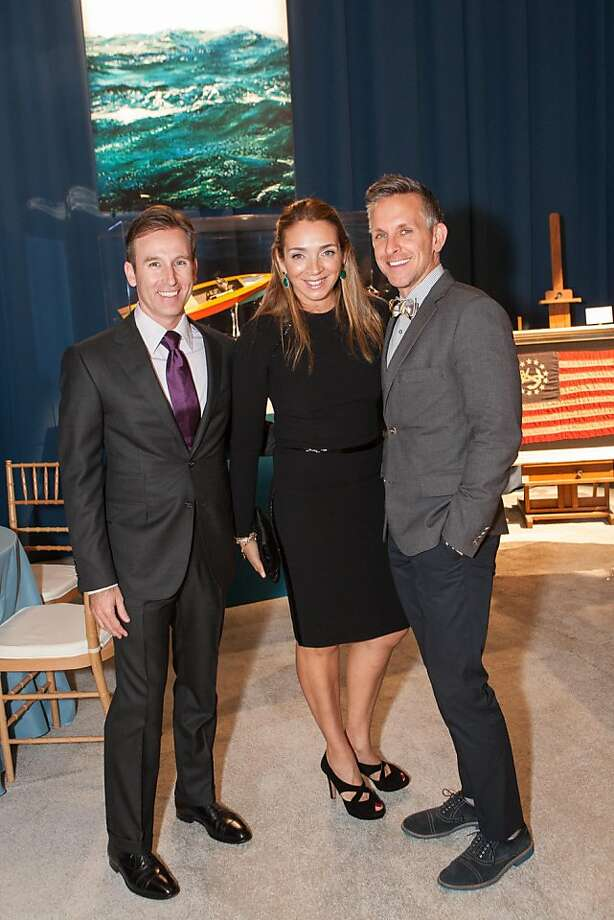 Part of the fun of the Fall Antiques Show gala night is seeing -- and being seen. Here's Todd Klein (left) and Victoire Brown with interior design man Jay Jeffers (at right.) Photo: Drew Altizer Photography