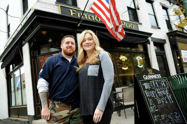 Owners Sean and Megan Costello on Tuesday, Oct. 23, 2012, at Finnbar's Pub in Troy, N.Y. (Cindy Schultz / Times Union) Photo: Cindy Schultz / 00019773A