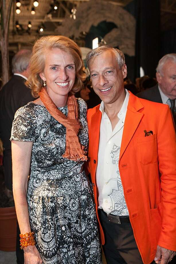 Williams Sonoma senior vice president Marta Benson must have felt at home at the Fall Antiques Show at Fort Mason, where homewares and furniture were the order of the day. With her is Kurt Wooton, whose husband, Ken Fulk, is an interior designer, and who wore Giants orange to support the team on its first game in the World Series. Photo: Drew Altizer Photography