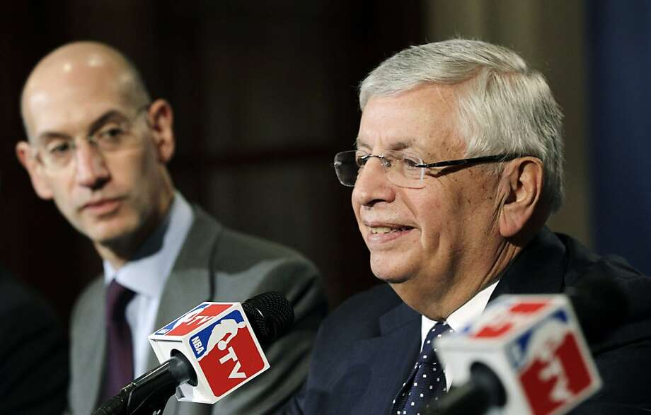 Commissioner David Stern (right) will be succeeded by Adam Silver (left). Photo: Kathy Willens, Associated Press