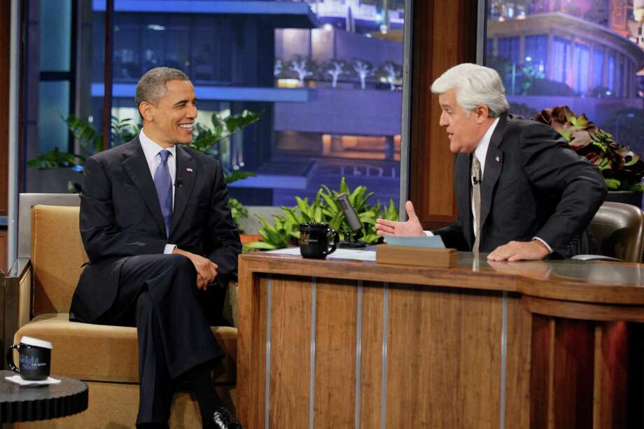 """In this photo provided by NBC, President Barack Obama appears on """"The Tonight Show"""" with Jay Leno Wednesday, Oct. 24, 2012, in Los Angeles. (AP Photo/NBC, Paul Drinkwater) Photo: Paul Drinkwater"""