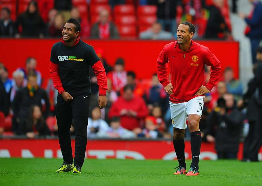 Manchester United's Anderson wears a Kick It Out campaign T-shirt before a match Saturday. Photo: Michael Regan, Getty Images
