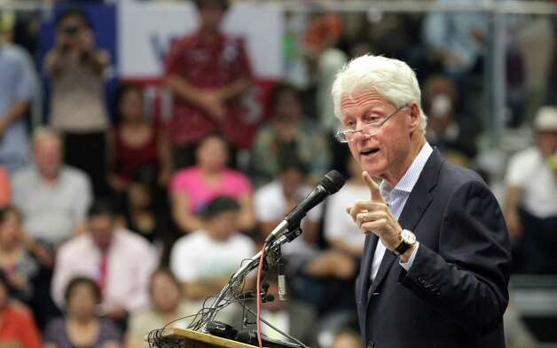 Former President Bill Clinton speaks at South San High School in San Antonio to show support for Pete Gallego and other Democrats running in the upcoming election.  Thursday, Oct. 25, 2012. Photo: Bob Owen, San Antonio Express-News / San Antonio Express-News