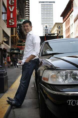 CEO of Uber Travis Kalanick with one of the car Uber service uses to drive customers in San Francisco, Calif. on May 1, 2012. Photo: Siana Hristova, The Chronicle